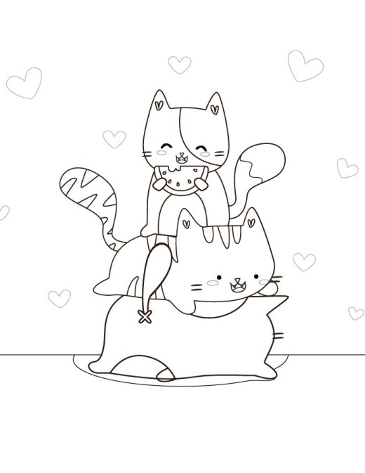 Dessin coloriage chat kawaii gratuit