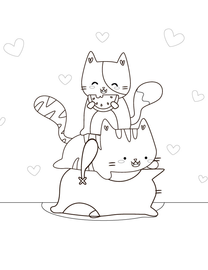 Dessin Coloriage Chat Kawaii Gratuit Artherapie Ca