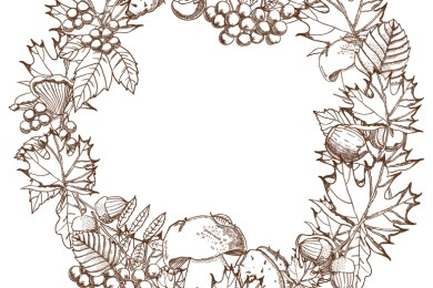 Couronne automne à dessiner gratuit
