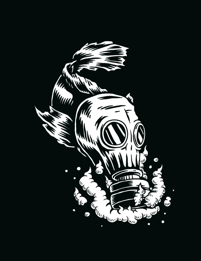 Dessin poisson pollution fond noir