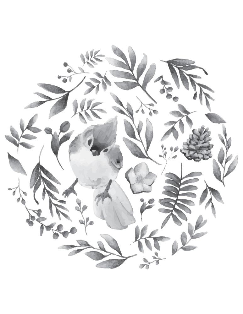 Page grayscale oiseau pour colorier