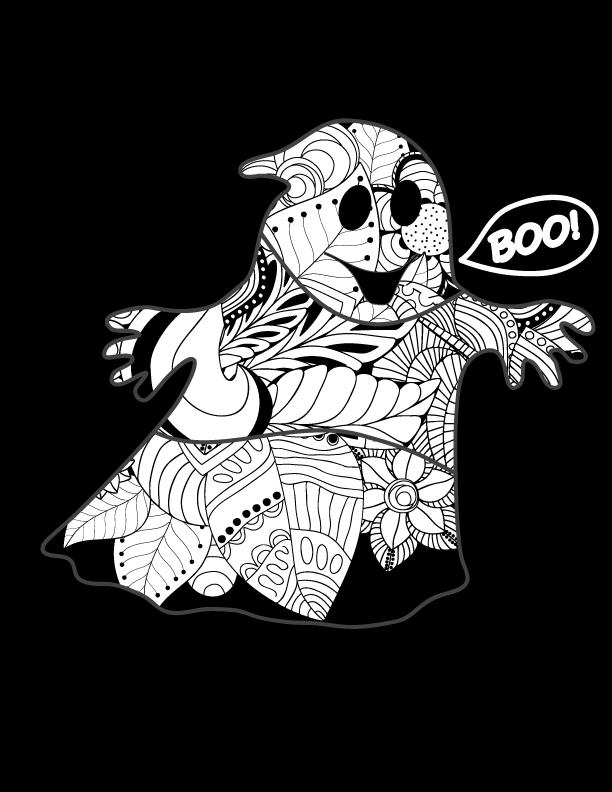 Doodle fantôme dessin de Halloween - Artherapie.ca