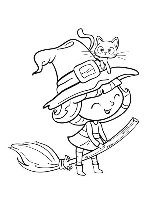 Kawaii fillette sorcière coloriage gratuit