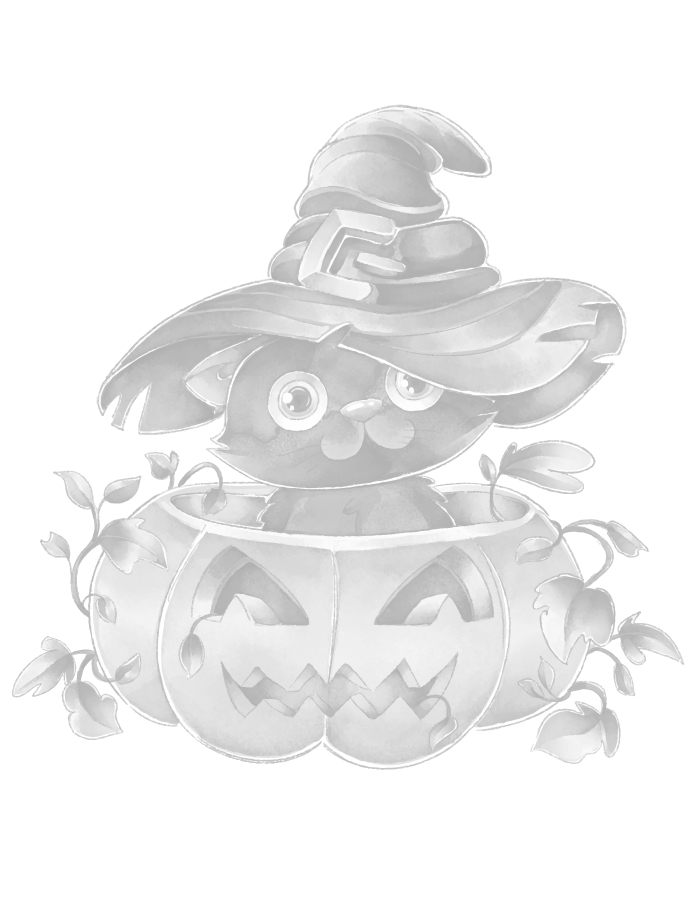 Adorable chat halloween page grayscale