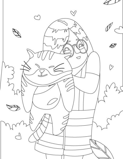 J'aime mon chat à colorier gratuit