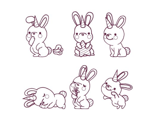 Kawaii licorne lapin à dessiner gratuit