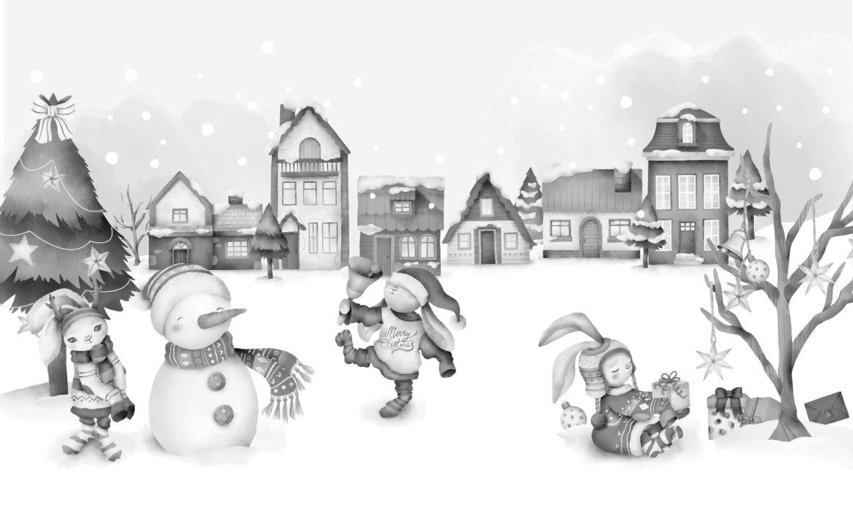 Paysage grayscale lapins des fêtes