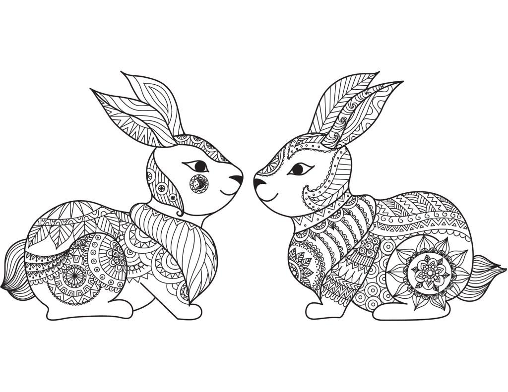 Lapins amoureux dessin adulte Pâques