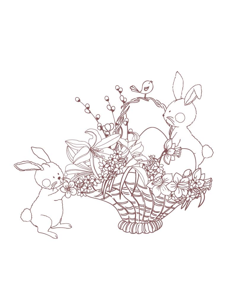 Panier de fleurs pour Pâques