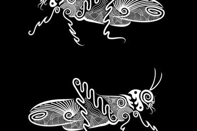 Page fond noir sauterelles à colorier