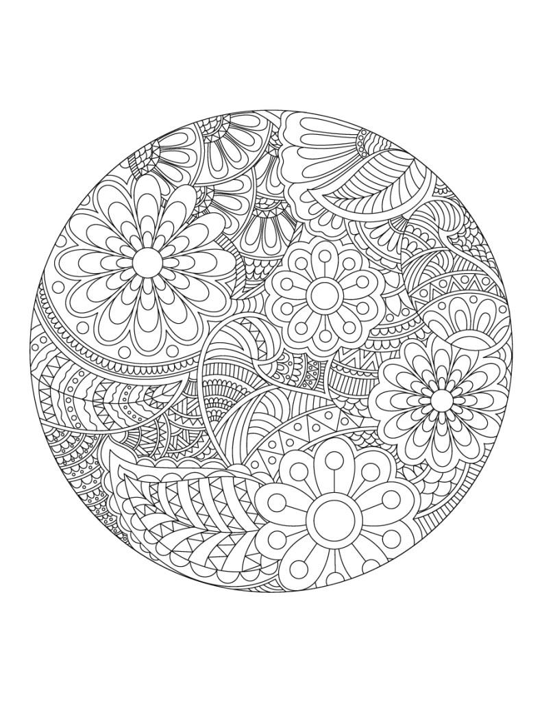 Fleurs mandala gratuit à colorier