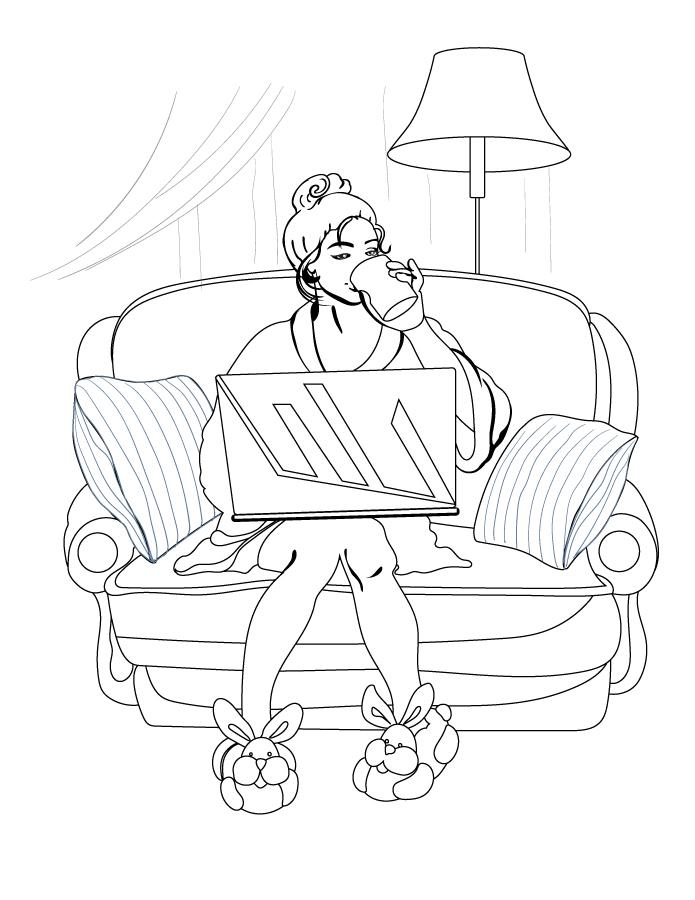 Femme télétravail relax à imprimer