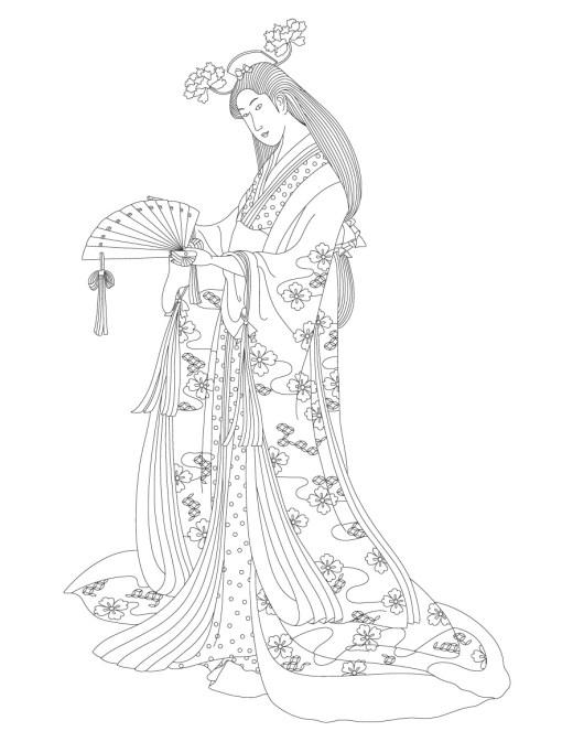 Belle geisha à colorier adulte