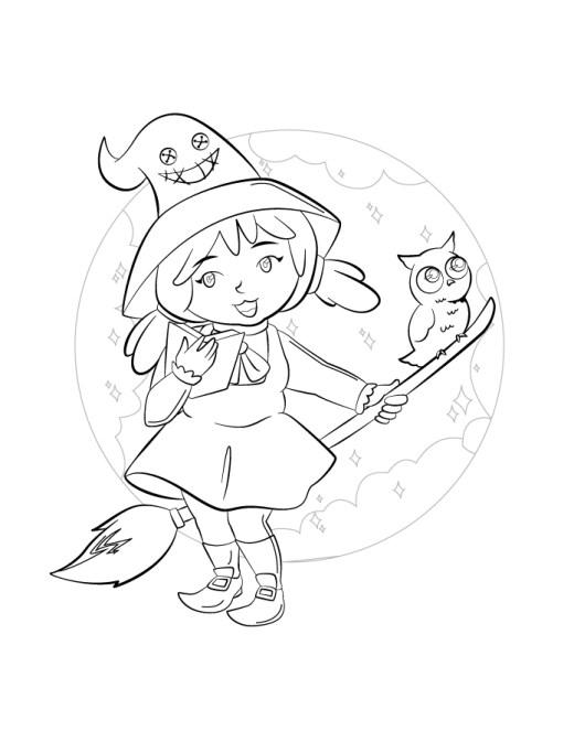 Petite sorcière mignonne à colorier