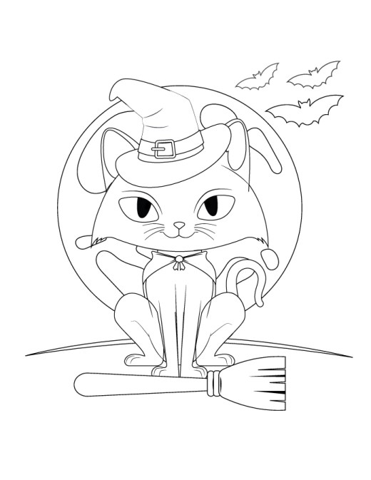 Coloriage chat sorcier halloween