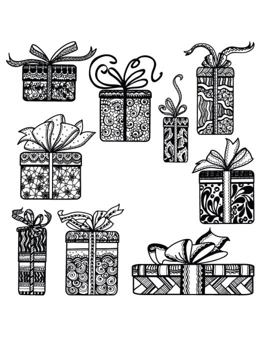 Coloriage difficile cadeaux de Noël