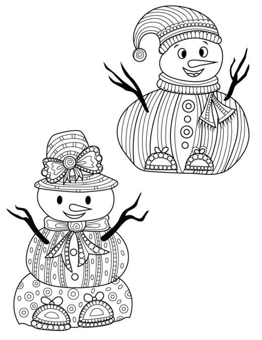 Dessin pour adulte hiver snowman