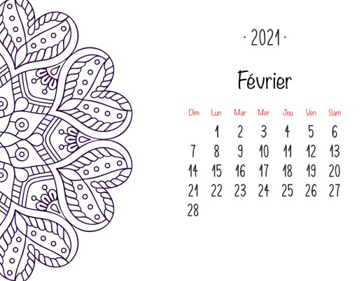 Calendrier 2021 Février mandala