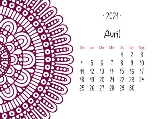 Calendrier 2021 Avril mandala