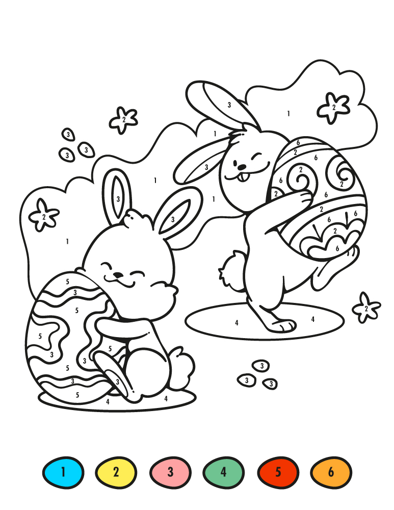 Lapin de pâques coloriage mystère gratuit