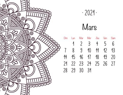 Calendrier 2021 Mars mandala
