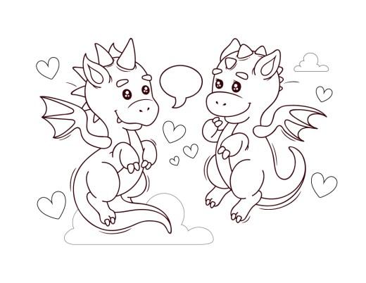 Kawaii dragons amoureux dessin