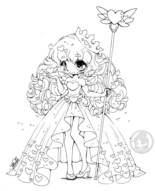 Reine de coeur à colorier Yampuff
