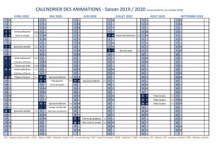Calendrier des animations 2 2019-2020