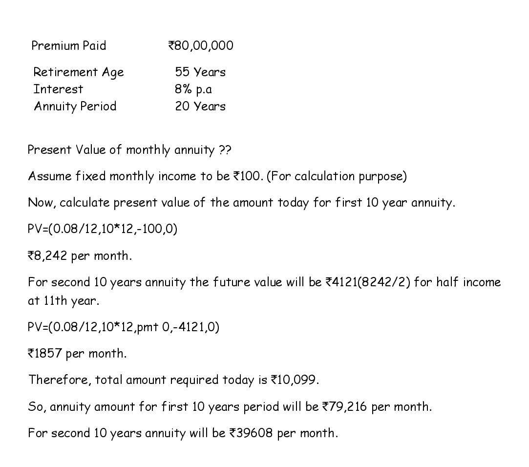 Immediate annuity calculation