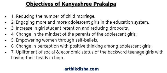 Objectives of Kanyashree Prakalpa or Kanyashree Scheme.