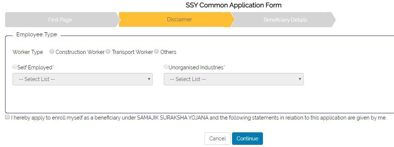 Samajik Suraksha Yojana-SSY common application form-Disclaimer Tab