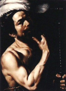 Louis Finson, Self-portrait as David, pose derived from Caravaggio's self-portrait, 1613, Musée des Beaux-Arts, Marseille