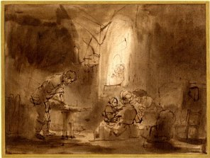 Attr. to Rembrandt, Holy Family, drawing, British Museum