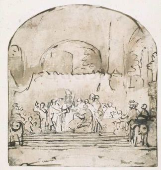 Depressed arch in Rembrandt's drawing as in Van Campen's original design
