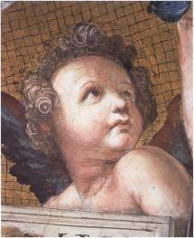 14. Raphael Santi, Putto, detail from Jurisprudence, Stanza della Segnatura