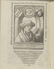"""10. Portrait of Alardus van Amsterdam in """"Ritus Edenti (etc)"""", 1523, 11.1x7.7 cm, Rijksmuseum"""