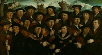 "16. Division of the Kloveniers with two ""kings"", 1534, anonymous, oil on panel, 144x246 cm, Amsterdam Museum"