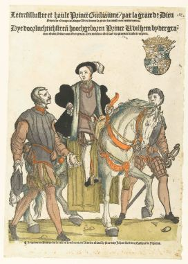 25. Cornelis Anthonisz, Prince William of Orange accompanied by two footmen, one wearing a jerkin with vertical slits, hand coloured woodcut, 1645, Rijksmuseum