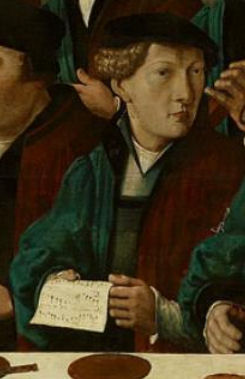 10. Detail of fig. 22: man holds music sheet with song 'In mijne sinn heb ik vercooren een meysken' (I have my eye on a girl)