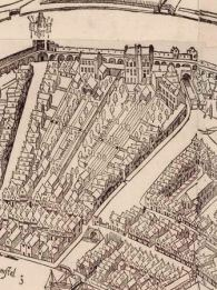 9. The Archers and Crossbowmen's (Handboog and Voetboogdoelen) headquarters with shooting range on the Singel, detail from Cornelis Anthonisz map of Amsterdam, 1544