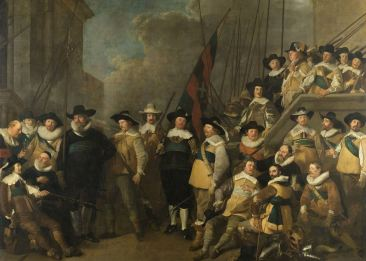 The Kloveniers civic guards of District in Amsterdam led by Captain Cornelis de Graeff and Lieutenant Hendrick Lauwrensz Jacob Adriaensz Backer (1642), oil on canvas, 367x511 cm, Rijksmuseum