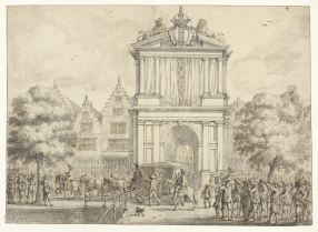 Jan Martszen the Younger, design for the engraving by Pieter Nolpe of the triumphal arch on Varkenssluis bridge, 1638, Rijksmuseum