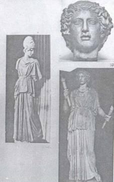 Дві з римських реплік грецької статуї Афіни зі скульптурної групи Мирона «Афіна та Марсій»: а) Статуя, яку придбали для Ермітажу з неправильною реконструкцією у вигляді жіночої фігури з факелами в руках. На статую, в якої були втрачені голова та руки, була встановлена голова від іншої статуї іншого часу та стилю, т. з. Пергамського, який відрізняється від Високого стилю грецької класики самої статуї. б) Статуя Афіни того ж типу, що зберігається в «Міському зібранні скульптури» Франкфурта із збереженою головою.