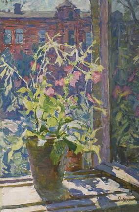 Яблонська Олена Нилівна-Тютюнець. На вікні. 1945