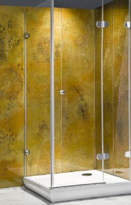 douchecabine achterwand glasfusing goud