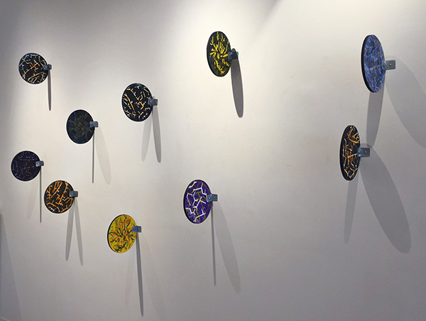 """""""Sides"""" Monotypes mounted on Plastic with Metal by Gutermute and Sharma"""