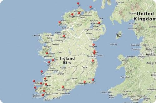 Ireland Trip Route