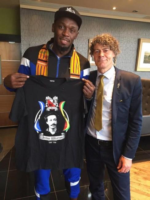 Usain Bolt with Shaun Campbell