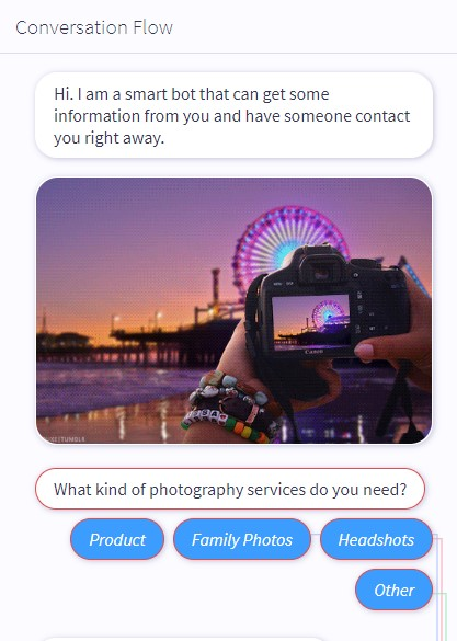chat question asking what type of photography customer needs