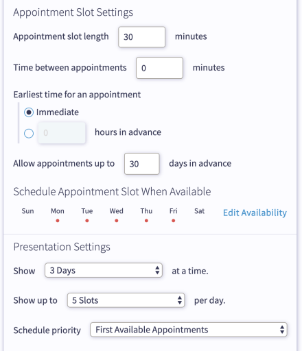 Select your appointment openings for real estate showings with a free chatbot